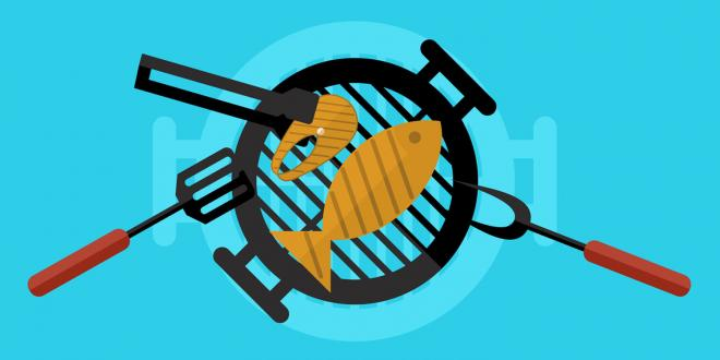 An illustration of salmon on the grill