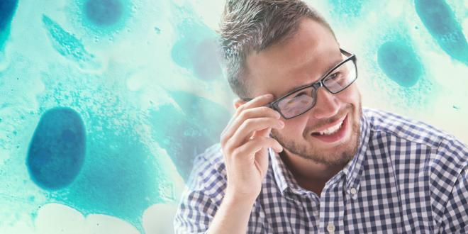 young man with prostate cells background